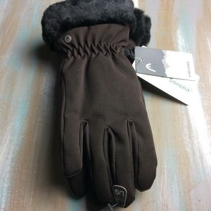Brown head gloves with faux fur